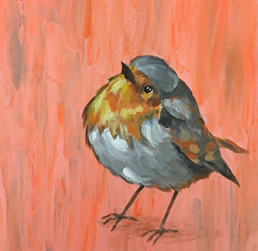 English Robin in Acrylics by Tif Does Art